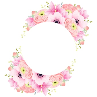 Floral frame ranunculus magnolia and anemone flowers
