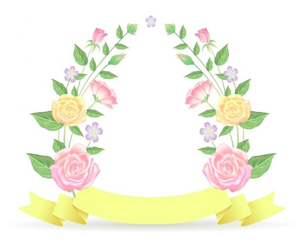 花のフレームバラの花と葉のテンプレート装飾リボン付き