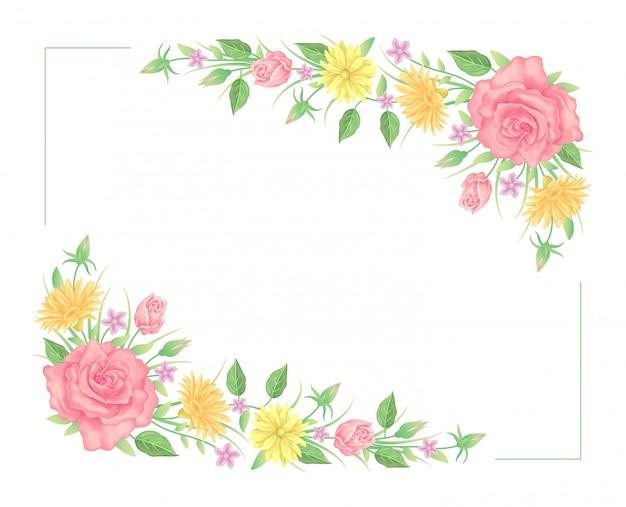花のフレーム、バラの花と葉のテンプレート装飾
