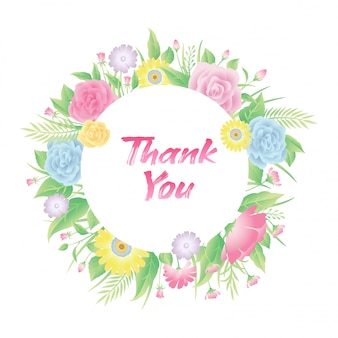 Floral frame rose flowers, leaves and grass with thank you text