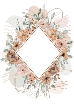 花のフレームのバラは、抽象的な形で背景を残します
