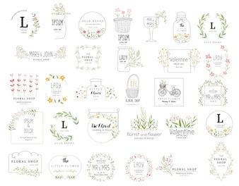 Floral frame set for wedding, flower shop, hand drawn style