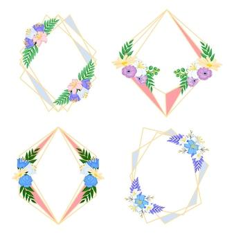 Set di cornice floreale disegnata a mano