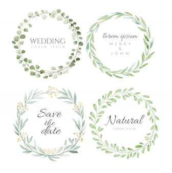 Floral frame set watercolor style