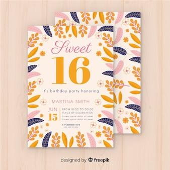 花のフレーム16パーティーの招待状
