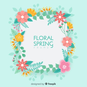 Floral frame spring background