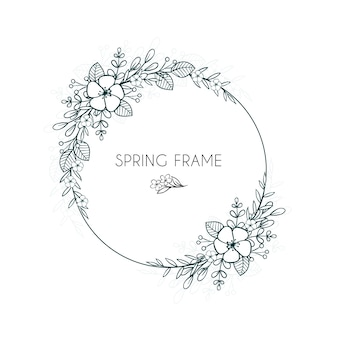 Floral frame for spring hand drawn
