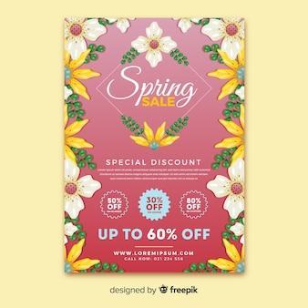 꽃 프레임 봄 판매 포스터
