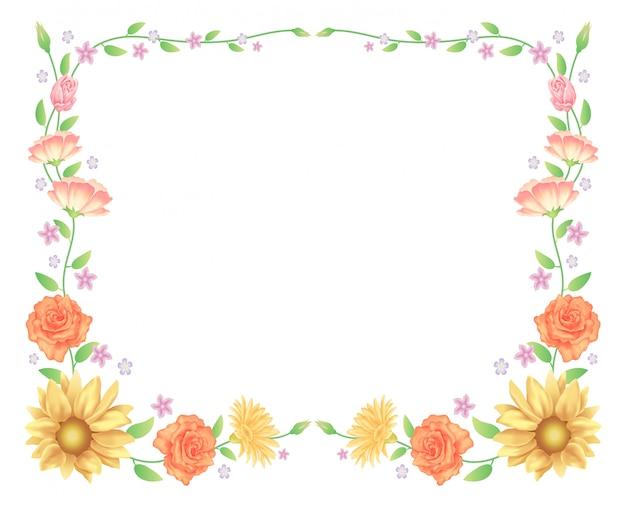 꽃 프레임, 해바라기 및 장미 꽃 장식 프리미엄 벡터