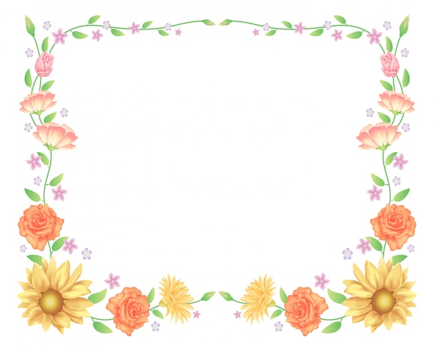 Floral frame, sunflowers and rose flowers decoration