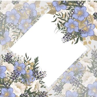 花のフレームテンプレート-水色の花