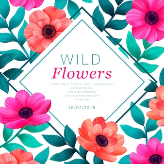 Floral frame template with saturated colors