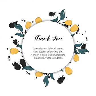 Floral frame for thank you card