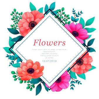 꽃 프레임 열 대 꽃 유행 템플릿