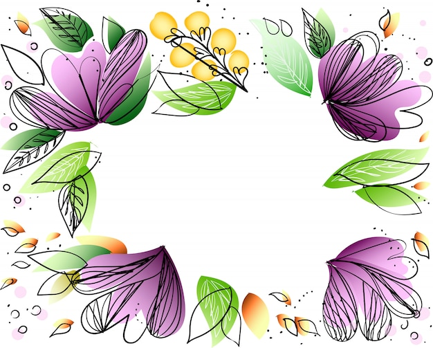 Floral frame vector with copy space on white