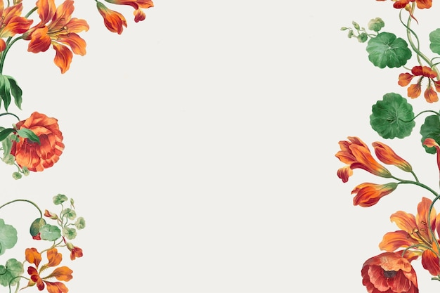 Floral frame vector with poppy and lily art print, remixed from artworks by john edwards