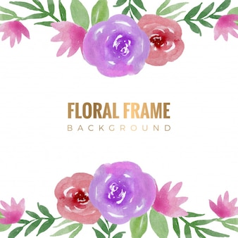 Floral frame watercolor background