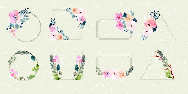 Floral frame watercolor collection