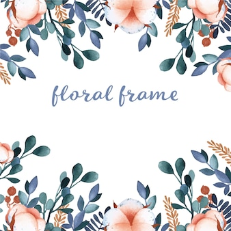 Floral frame watercolor cotton flower elements  on white background