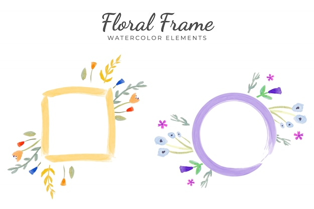 Floral frame watercolor elements