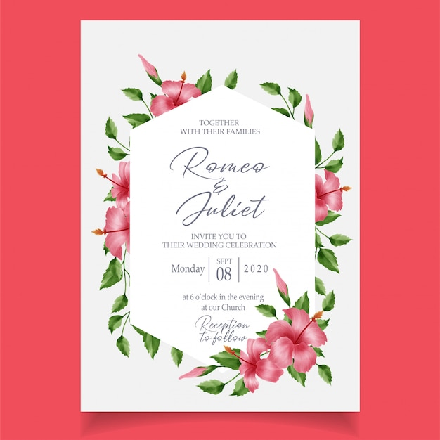 Floral frame watercolor invitation card template