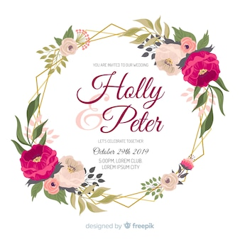 Floral frame watercolor for wedding invitation