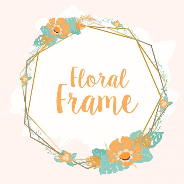 Floral frame for wedding card