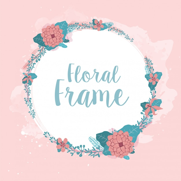 Floral frame for wedding card