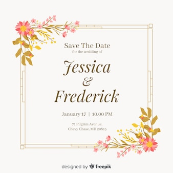 Floral frame wedding invitatio in flat design
