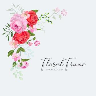 Floral frame wedding invitation card design vector red pink rose