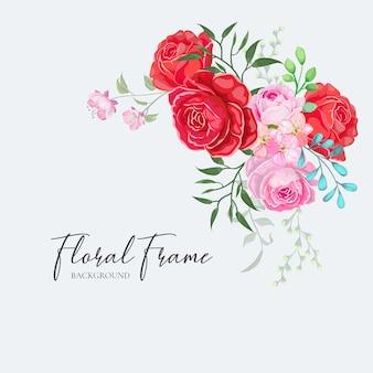 Floral frame wedding invitation card design vector red rose