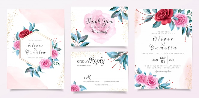 Floral frame wedding invitation card template set with flowers decoration and watercolor background