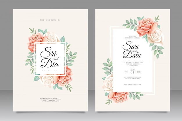 Floral frame wedding invitation card template