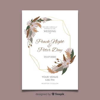 Floral frame wedding invitation card