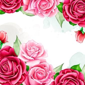꽃 프레임 결혼식 초대장 서식 파일