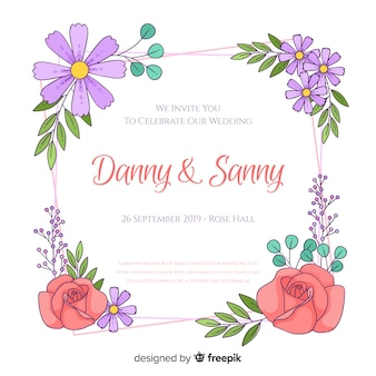 Floral frame wedding invitation template