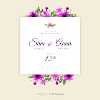 Floral frame wedding invitation template