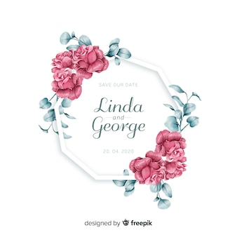 Floral frame wedding invitation in watercolor style