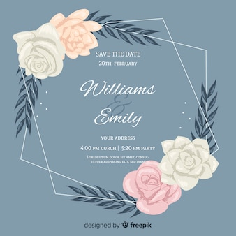 Floral frame wedding invitation with flat design
