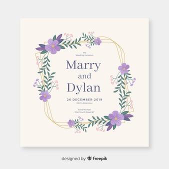 Floral frame wedding invitation with flat design