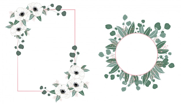 Floral frame wedding invitation with flowers and leaves