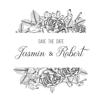 Floral frame wedding invitation with hand drawn flowers