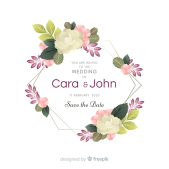 Floral frame wedding invitation
