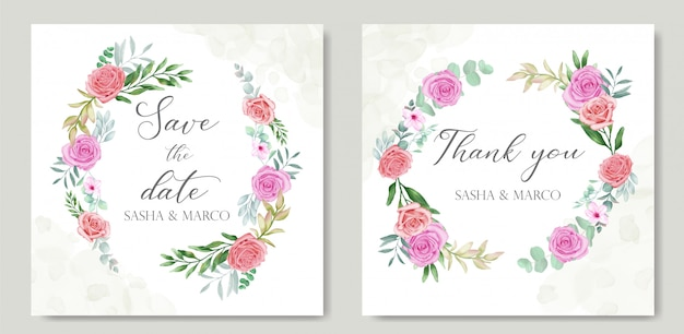 Floral frame for wedding invitation