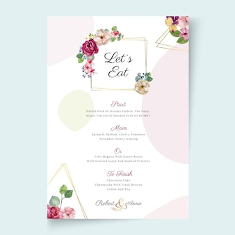 Floral frame wedding menu