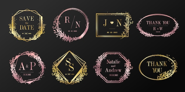 Floral frame for wedding monogram, branding logo and invitation card design.