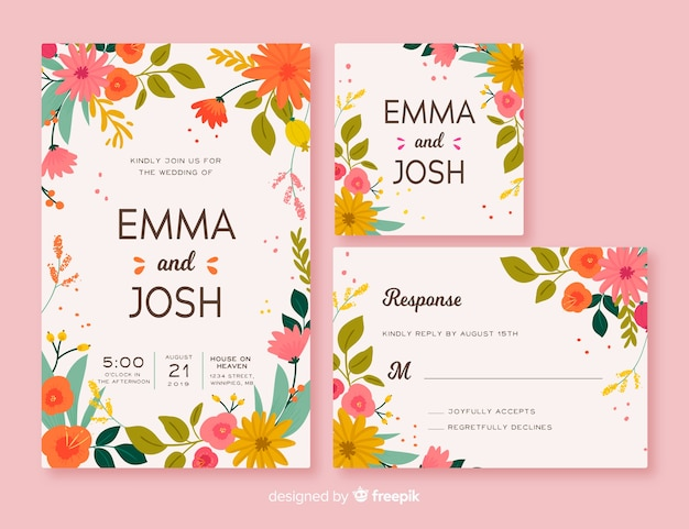 Floral frame wedding stationery template