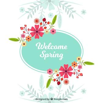 Floral frame welcome spring