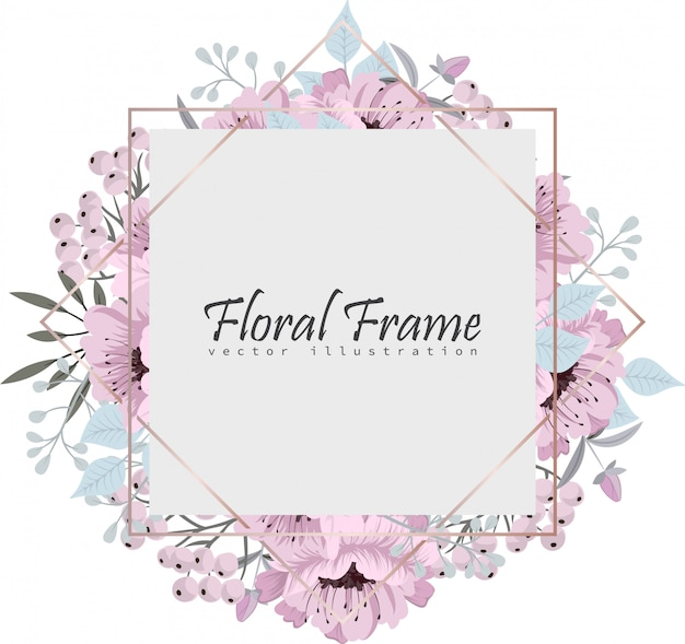 Floral frame with beautiful flowers.