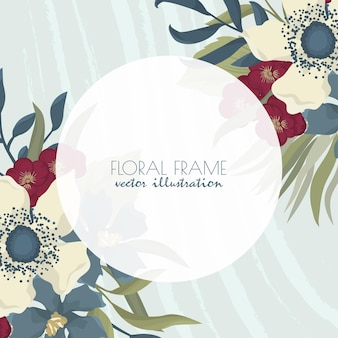 Floral frame with beautiful flowers